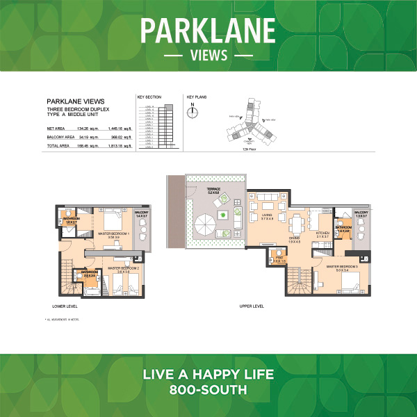 Three Bedroom Duplex Type A Middle Unit